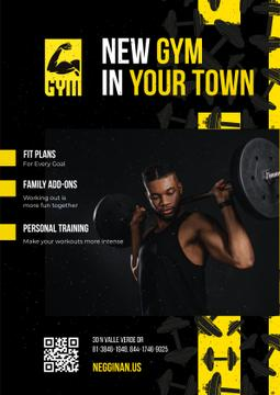 Gym Promotion with Man Lifting Barbell