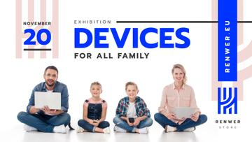 Devices Exhibition Family with Gadgets