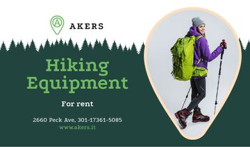 Hiking Equipment Ad with Backpacker and Sticks