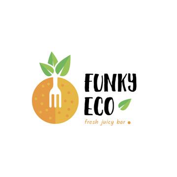 Juice Bar with Orange Fruit and Fork