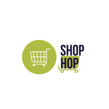 Shop Ad with Shopping Cart in Green