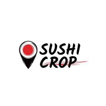 Sushi Delivery Ad with Map Pin with Maki