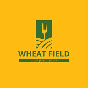 Pasta Restaurant Ad with Fork on Wheat Field