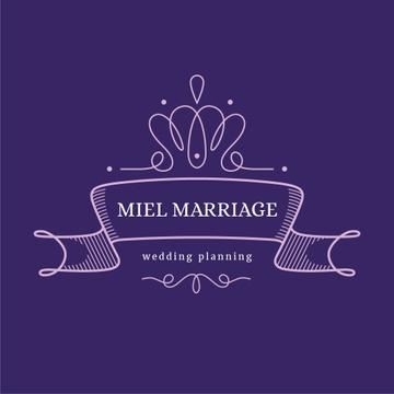 Wedding Agency Ad with Elegant Ribbon in Purple