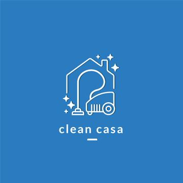 Cleaning Services Ad with Vacuum Cleaner in Blue