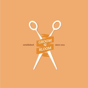 Hair Studio Ad with Scissors in Orange