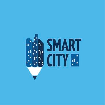 Smart City Concept with Night Lights