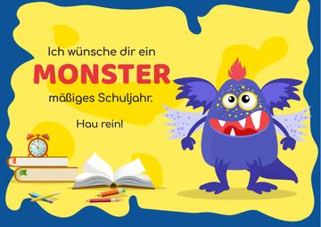 School Year Greeting with Monster