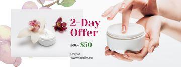Cosmetics Sale with Woman Applying Cream
