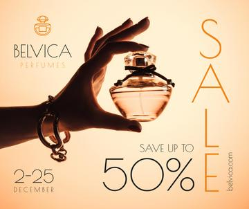 Sale Offer with Woman Holding Perfume Bottle