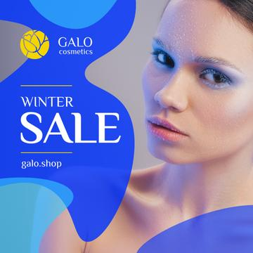 Cosmetics Sale Woman with Creative Winter Makeup