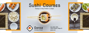 Sushi Courses Ad with Fresh Seafood