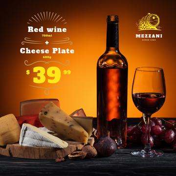 Winery Offer Wine Bottle with Cheese