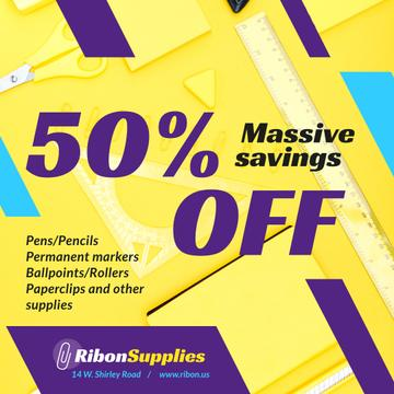 Office Supplies Offer Stationery in Yellow