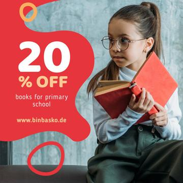 Books Offer Girl Reading in Red
