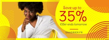 Sale Offer Young Woman Pointing in Yellow