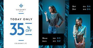 Fashion Sale Stylish Woman in Blue