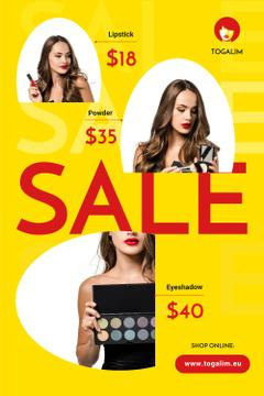 Cosmetics Sale with Woman Applying Makeup