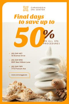 Spa Center Ad with Zen Stones and Shells