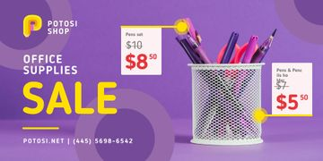 Office Supplies Sale with Stationery in Purple