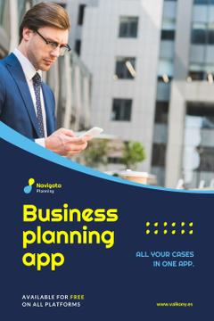 Business Planning App Ad Man with Smartphone