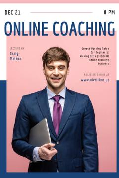 Online Courses Ad with Excited Man with Laptop