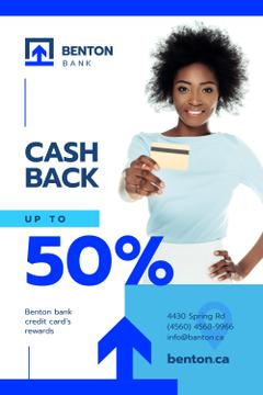 Cashback Service Ad with Woman with Credit Card