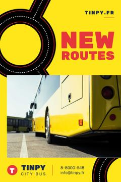 Public Transport Routes with Bus in Yellow
