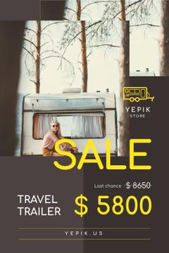 Camping Trailer Sale with Woman in Van