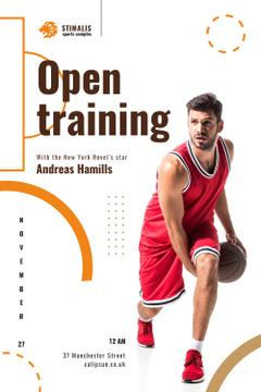 Open Training Announcement with Basketball Player in Red