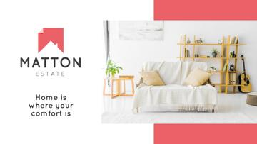 Real Estate Agency Ad with Modern Interior in White