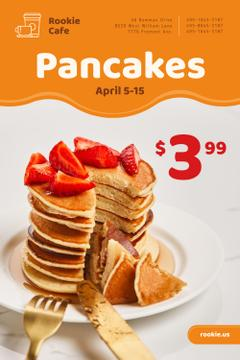 Cafe Promotion with Stack of Pancakes and Strawberries