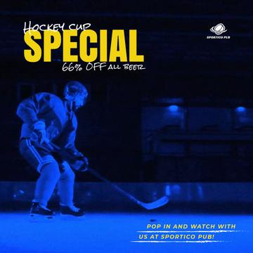 Hockey Match Offer with Player on Ice