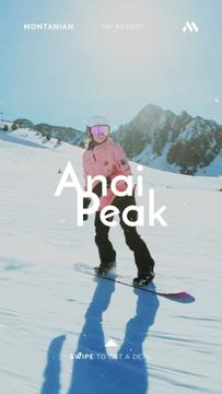 Woman Riding Snowboard in Snowy Mountains