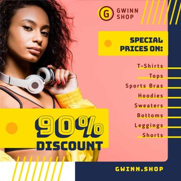 Fashion Sale with Stylish Woman in Headphones