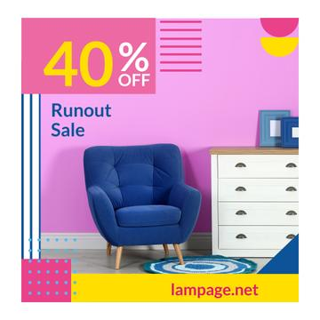 Furniture Sale with Armchair in Colorful Interior
