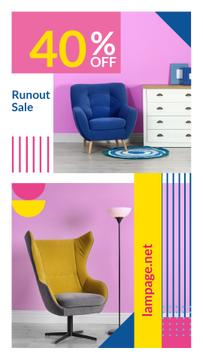 Furniture Sale Armchair in colorful Interior