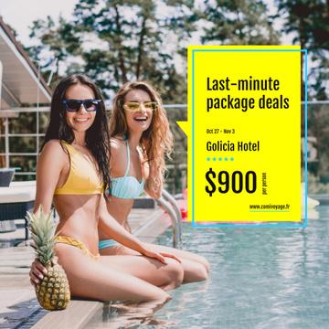 Hotel Offer Happy Girl in Bikini by Pool