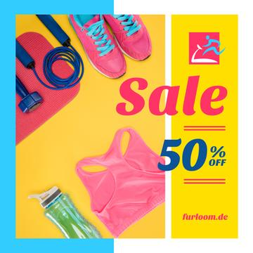 Fitness Ad with Sports Equipment in Pink