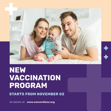 Vaccination Program Announcement Parents with Baby