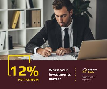 Banking Services Ad Businessman working by Laptop