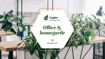 Gardening Center Ad with Plants in Modern Office