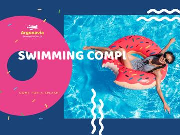 Swimming Complex Opening with Woman Relaxing on Floating Ring