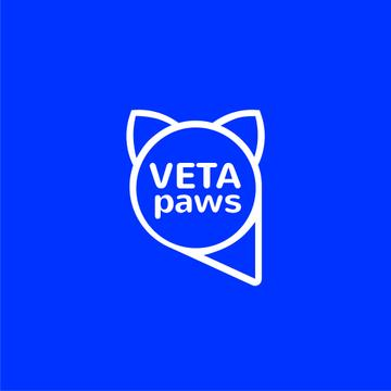 Vet Clinic Pet with Head Silhouette in Blue