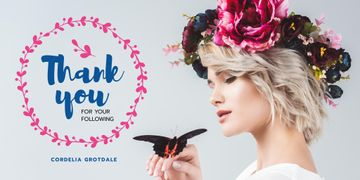 Blog Promotion with Woman in Flowers with Wreath and Butterfly