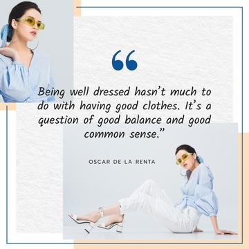 Fashion Quote Woman in Stylish Outfit