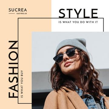 Style Quote Woman in Winter Outfit and Sunglasses
