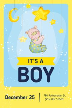 Baby Shower Invitation with Cute Teddy Bear