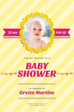 Baby Shower Invitation Adorable Child in Frame
