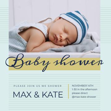 Baby Shower Invitation Cute Boy Sleeping